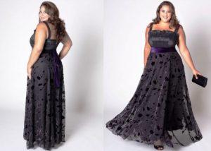 Девушкам с пышными формами на вечер рекомендуется одевать длинные вечерние платья из летящей ткани