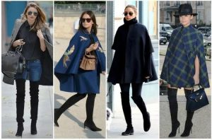 Отлично смотрятся ботфорты в комбинации с расклешенным плащем или пальто