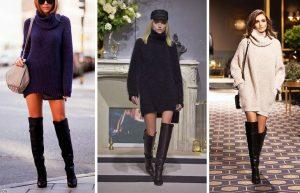 Высокие сапожки с вязаным тёплым платьем обеспечат восхищённые взгляды окружающих