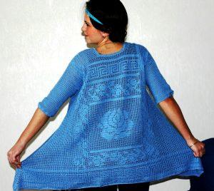 Летняя вязаная туника в стиле бохо – необыкновенно женственная, легкая, воздушная
