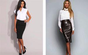 Деловой образ из белой  рубашки и черной юбки-карандаш - приглушенный драматический стиль