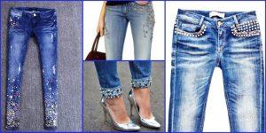 Джинсовые брюки в классическом крое можно расшить бисером