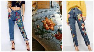 Цветочные принты и орнаменты на джинсах в стиле бохо смотрятся ярко и красиво