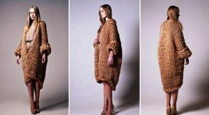 Качество вязки зимнего пальто в стиле бохо – крупная вязка
