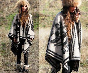 Индейское пончо - особенно актуальная модель пальто в стиле бохо