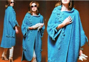 Вязаные весенние пальто в стиле бохо могут быть однотонными и яркими