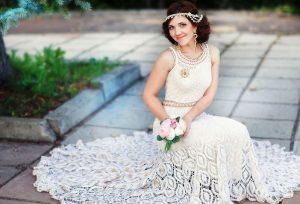 Отличным вариантом будет вязаное свадебное платье в бохо стиле