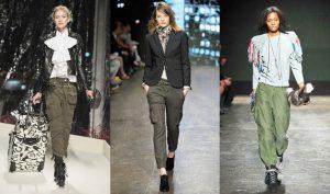 Женские брюки карго в военном стиле прочно обосновались на подиумах модных показов