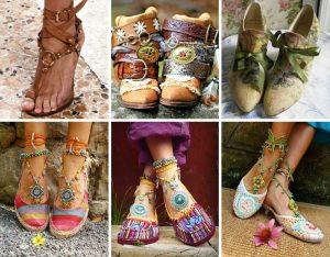 Обувь в стиле бохо должна содержать элементы декора, напоминающие ручную работу