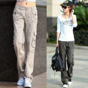 Прямой крой штанин  сгладят недостатки,  добавят дополнительную ширину большие наружные карманы по бокам