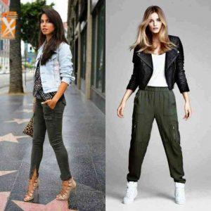 Под брюки карго можно надеть джинсовую или кожаную куртку