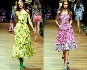 Женственность и мягкость силуэту безоговорочно придают платья и сарафаны