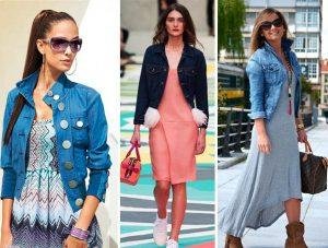 Поверх однотонных  платьев и с цветочными принтами можно надеть джинсовый укороченный жакет