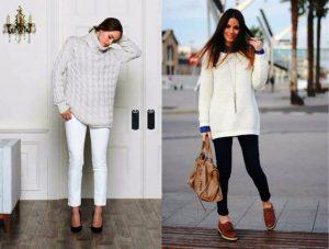 Джемпер оверсайз стоит подбирать к джинсам скинни или обтягивающим леггинсам