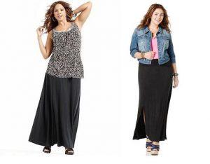 Длинная юбка в пол для полных женщин является одной из основных составляющих базового гардероба