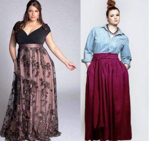 Длинные юбки в пол для полных женщин могут относиться к разным стилям