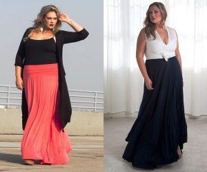 Длинные юбки в пол для полных модниц стоит комбинировать в комплекте с вещами, создающих цветовой контраст