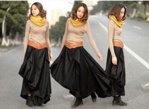 Асимметричные длинные юбки из плотных материалов подходят даже к ботинкам