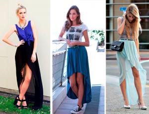 С ассиметричной длинной юбкой можно создавать образы во многих стилевых направлениях
