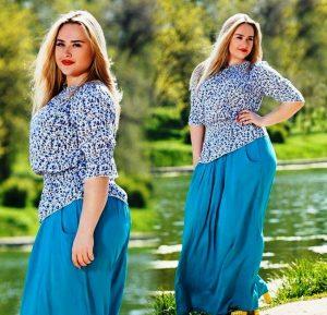 При выборе длинной юбки, полным девушкам важно определиться со стилем своего образа