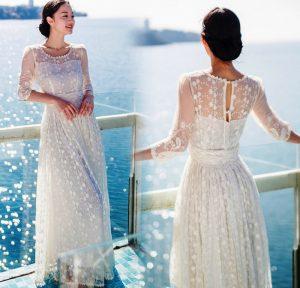 Белое платье с кружевом сделает образ утонченным и невероятно нежным