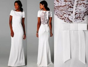 Обтягивающие белые платья должны быть из шелка, шерсти, льна, вискозы, а платья со сложной драпировкой и с пышным фасоном из шифона и атласа