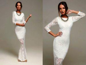 Белое стрейчевое кружевное платье, пожалуй, самый универсальный вариант для девушек хрупкого телосложения, оно поможет подчеркнуть изящность и грациозность