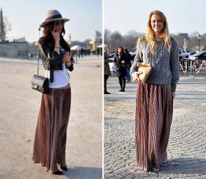 Длинная плиссированная юбка, как элемент модного гардероба поможет создать красивый образ