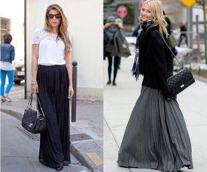 Преимущество длинной юбки плиссе в том, что при условии грамотно составленной композиции она способена выгодно смотреться практически на любой фигуре и подходит дамам абсолютно любого возраста