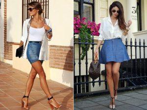 Короткая джинсовая юбка больше всего подходит стройным девушкам