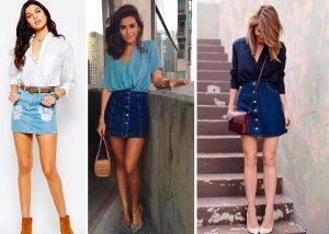 Рубашка или блуза в мужском стиле отлично сочетается с короткой джинсовой юбкой