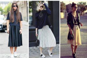 Современные стилисты предлагают много различных сочетанмй плиссированой юбки миди с вещами многих стилевых направлений