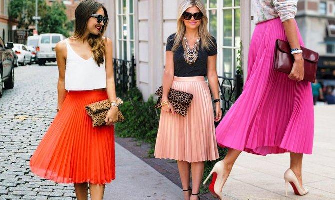 Плиссированные юбки средней длины