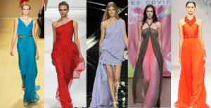 Разнообразие фасонов платьев в греческом стиле сохраняет спрос и популярность вечерних платьев, так как они изящно подчеркивает хрупкость и нежность женского образа