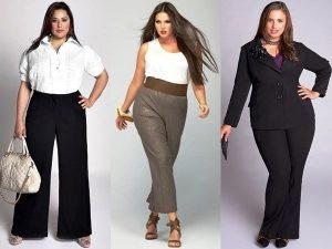 В деловом стиле для полных девушек не обойтись без классических брюк прямого покроя