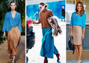 Сочетание синего и коричневого может быть и в деловом и в романтическом образе