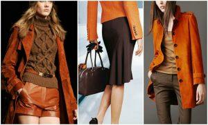 В сочетании с оранжевым подходят все оттенки коричневого цвета