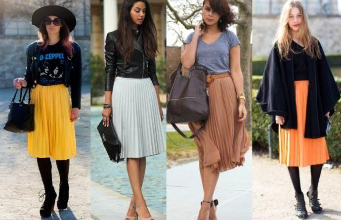 С чем носить юбку плиссе до колена