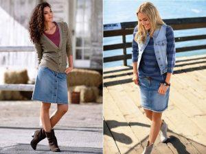 Джинсовая юбка- карандаш и жилетка - еще один модный образ