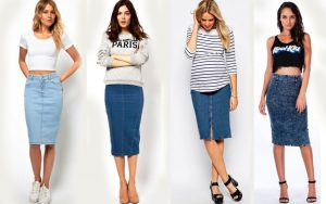 И для прогулки, и для шопинга джинсовая юбка -карандаш всегда будет уместна