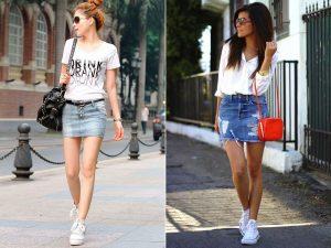Джинсовая укороченная юбка больше подходит молодым стройным девушкам