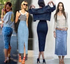 Под джинсовую узкую юбку можно подобрать практически любую вещь