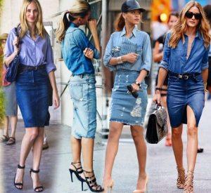 В паре с джинсовой рубашкой, важно, чтобы комплект не сливался, нужна разница в оттенках