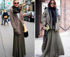 Длинные плиссированные юбки особенно актуальны в этом сезоне