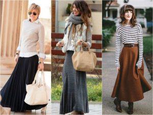 В молодежном стиле длинные шерстяные юбки тоже популярны