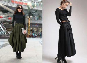 Сапожки на платформе и длинная шерстяная юбка - стильное решение