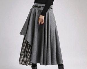 Длинная шерстяная юбка может быть ассиметричной
