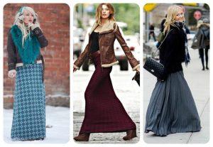 Длинные шерстяные юбки бывают разных моделей и стилевых направлений