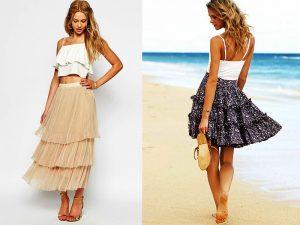 атласные и тюлевые юбки с воланами помогают создать романтичный очень миловидный, нежный образ, довершают который, маленькие сумочки и босоножки.
