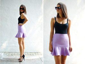 Короткая юбка в одном ансамбле с топом на тонких бретелях или корсетом, а также с открытыми босоножками на каблуке окажется незаменимой в теплый летний вечер